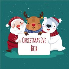 Christmas Eve Box Labels - Santa Polar Bear Rudolph - Vinyl Label 150mm x 150mm